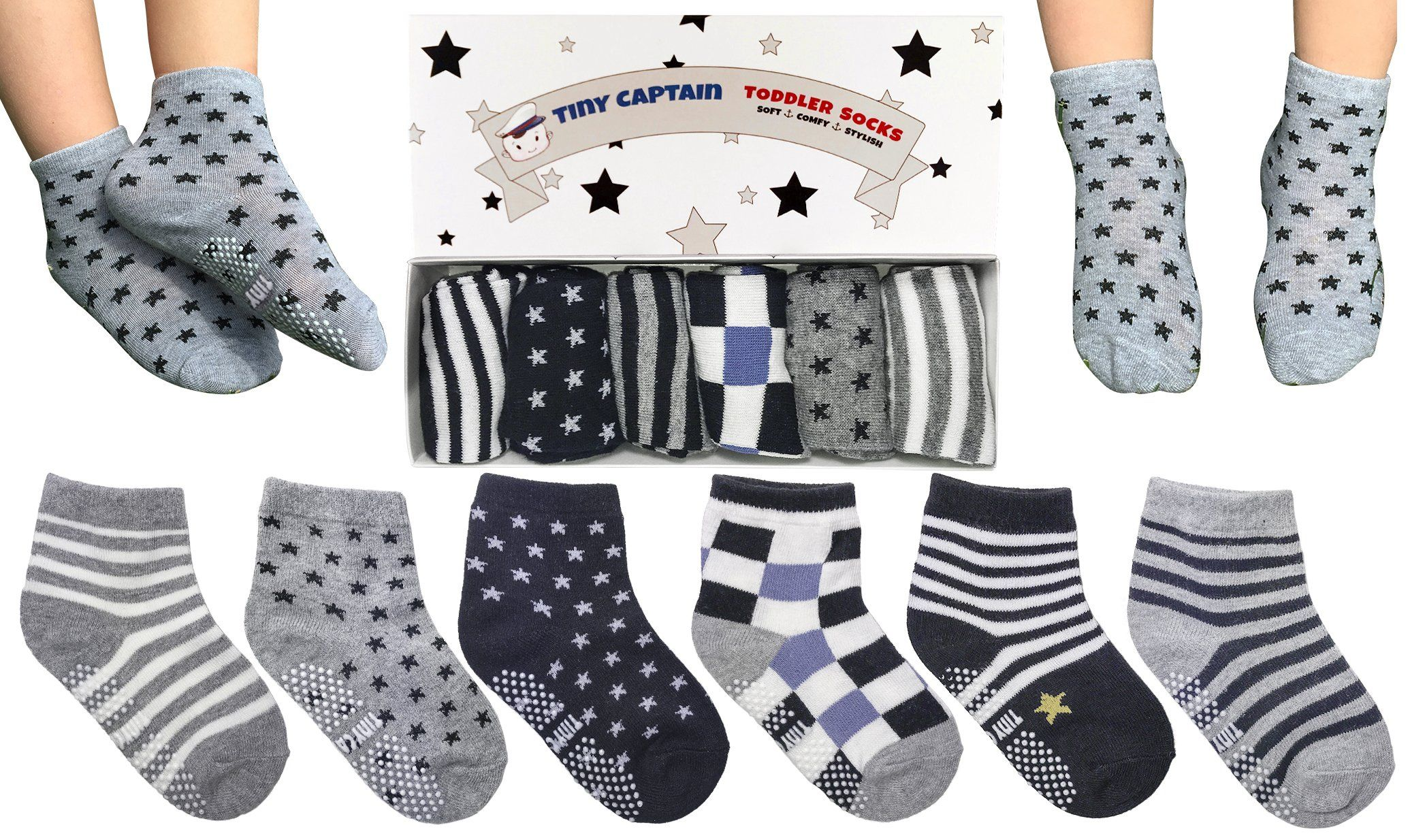 Tiny Captain Toddler Boy Non Slip Socks Best Gift For 1 3 Year Old