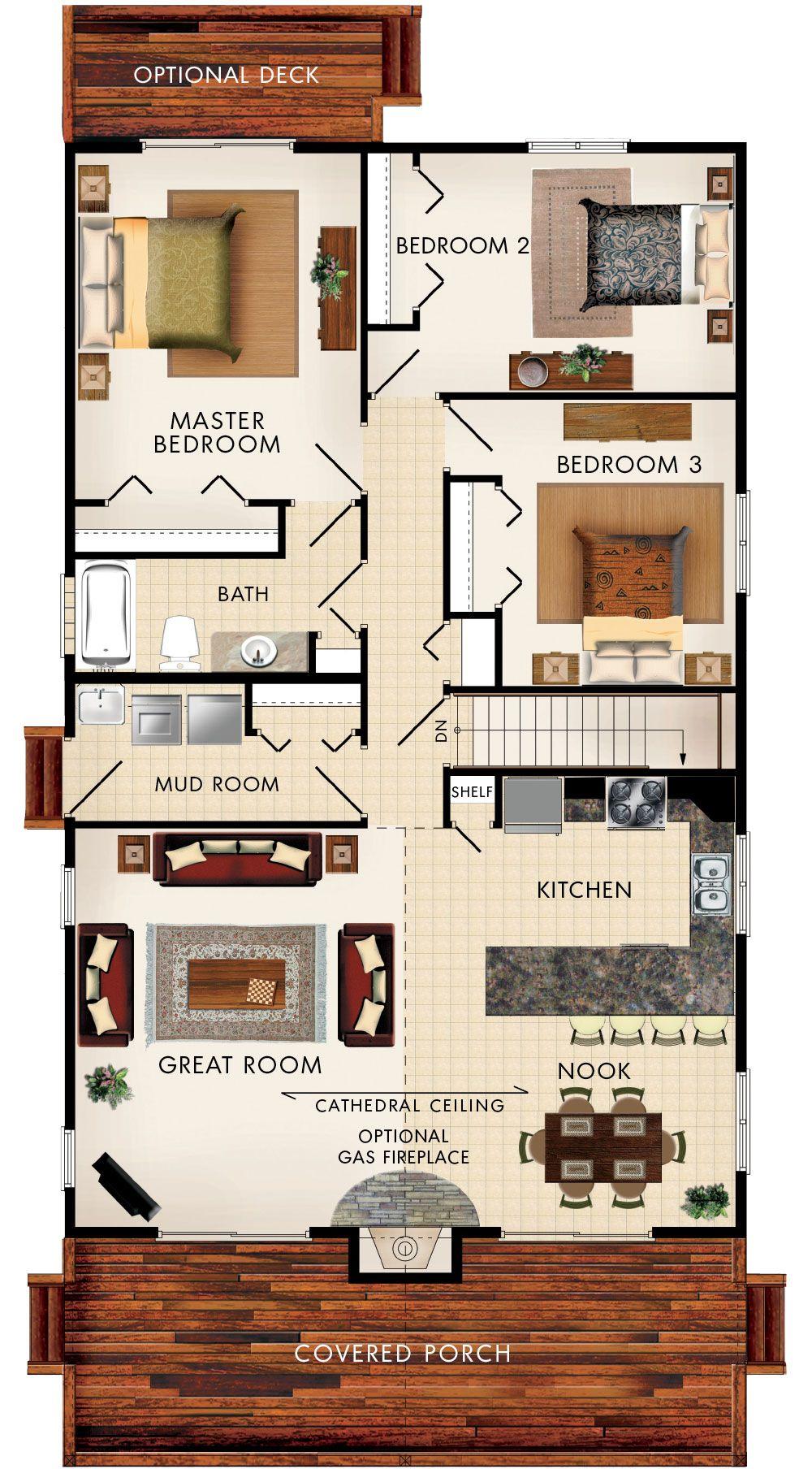 Baywood III Floor Plan  No stairs, Push back kitchen, bigger dinning