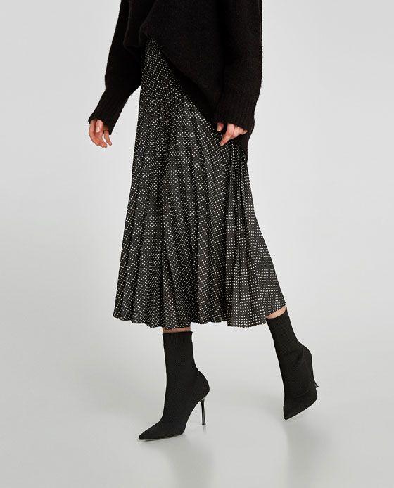 1cad1bce Image 2 de JUPE PLISSÉE À POIS de Zara | Style | Pleated skirt ...