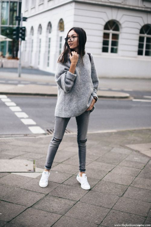3471d1a8f0fbc Beatrice Gutuwears grey skinny jeans with a rolled up sweater ...