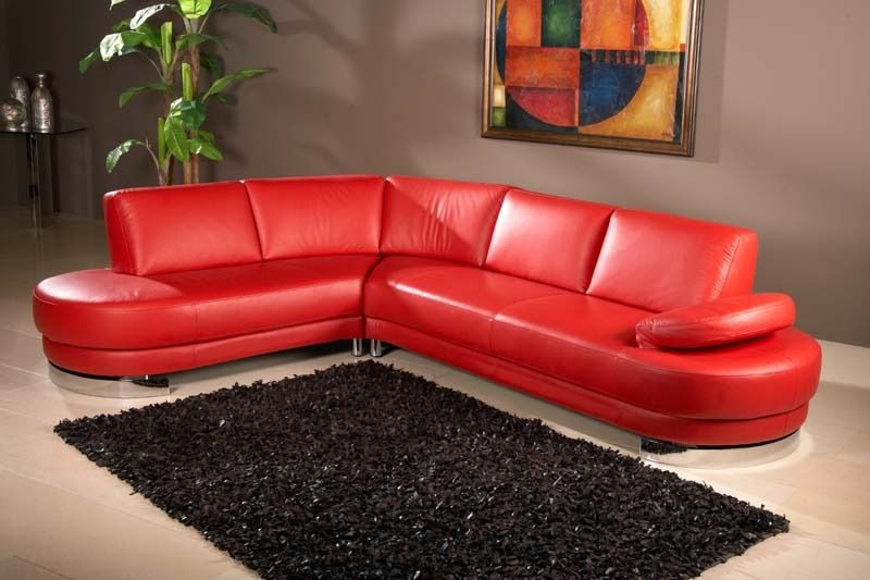 Sierra Red Living Room Sectional Paint Colors For With Gray Furniture Chintaly Modern Leather Sofa Chaise