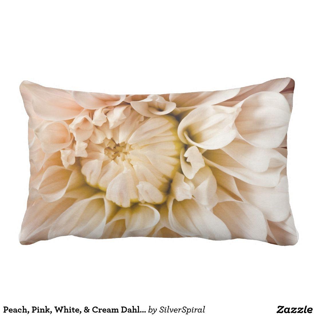 Peach pink white u cream dahlia background lumbar pillow pink