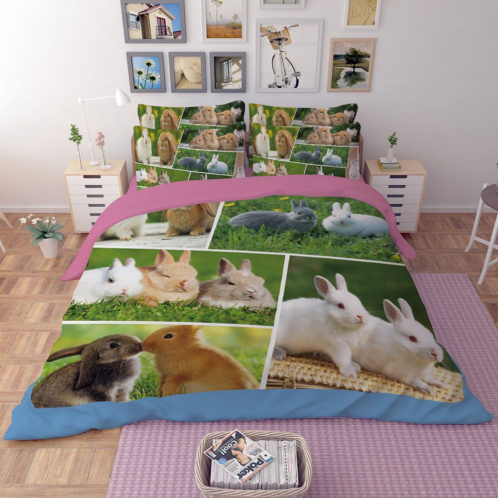 Cute Animal Print Rabbit Bedding Set Twin Queen King Size