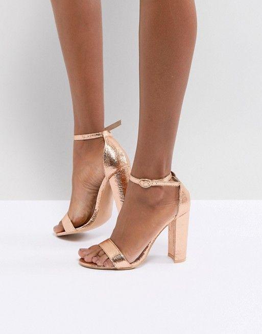 Sandalias de tacón cuadrado en dorado rosa Barely There de Glamorous aCWVOUEW86