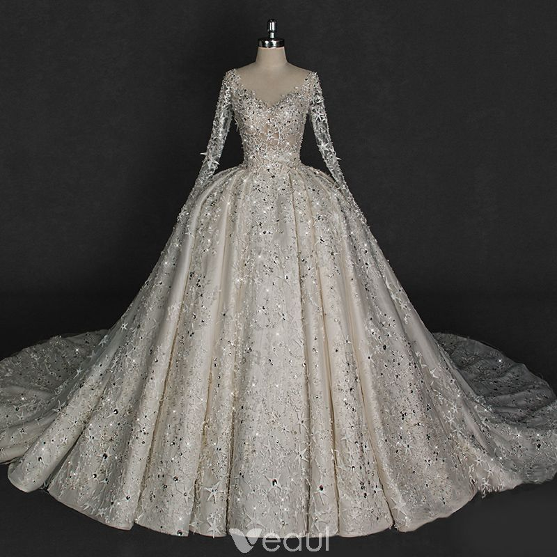 Ball Gown Long Sleeve Beaded Crystal Applique Watteau: Illusion Ivory Wedding Dresses 2018 Ball Gown V-Neck Long
