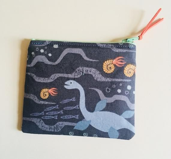 Prehistoric Animals Zipper Coin Pouch, Coin Purse, Loch Ness Monster #prehistoricanimals