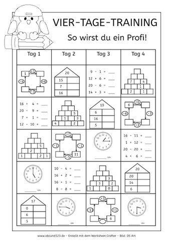 Vier-Tage-Mathe-Training (Zahlenraum bis 20) - | Mathematik ...