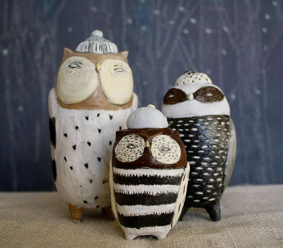 Ceramic Owl Canister Set   Made To Order