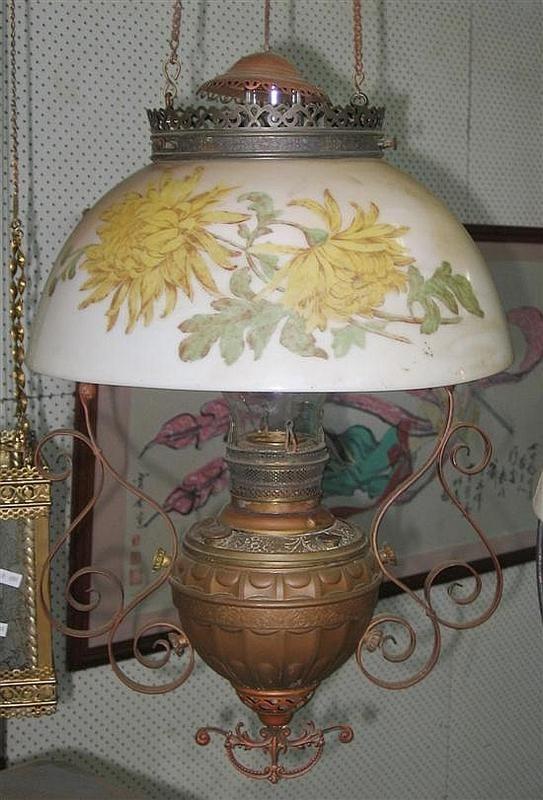 A 19th Century Miller Empress Hanging Lamp Brass Font