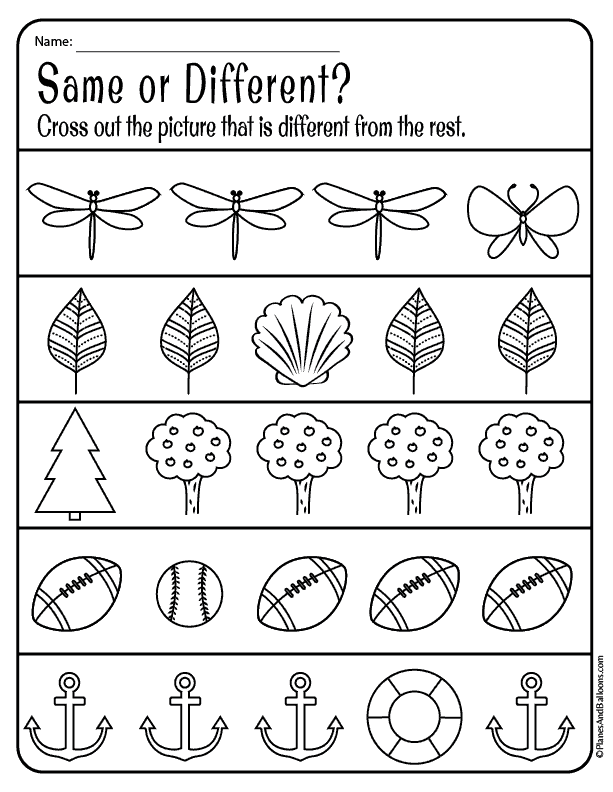 Same And Different Worksheets For Preschool Free Download Preschool Worksheets Printable Preschool Worksheets Free Preschool