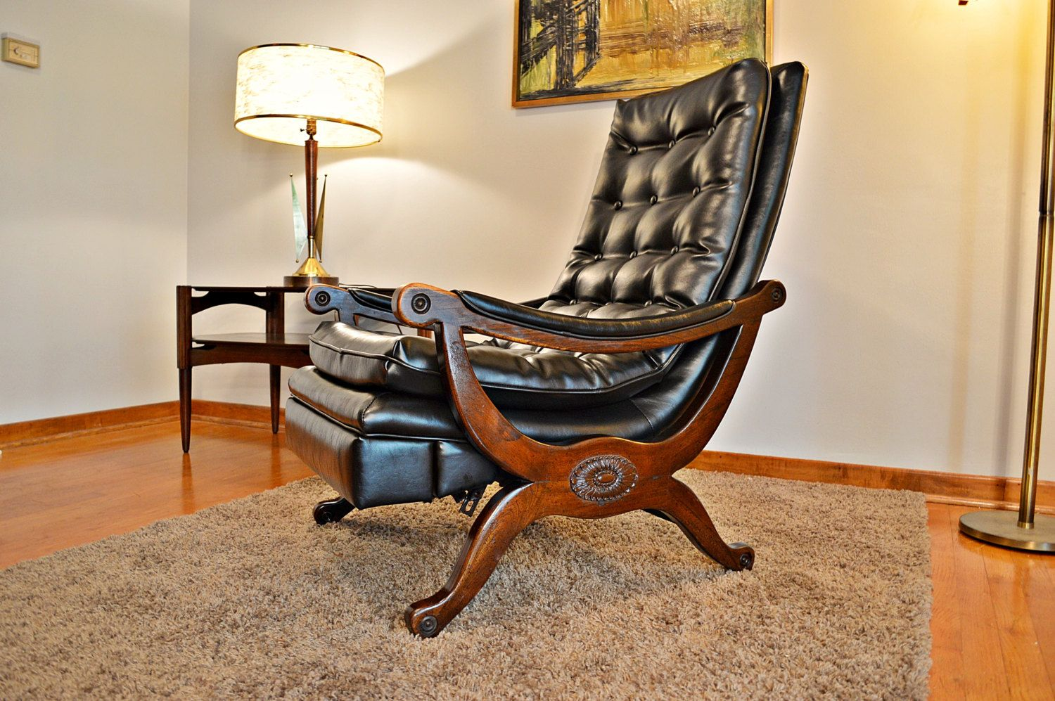 Mid century 1960s black tufted recliner lounge chair by