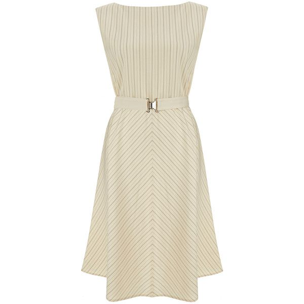 Theory Gracie Pursuit Ivory and Navy Pinstripe Dress (245 CAD) ❤ liked on Polyvore featuring dresses, cream, waist belt, v neck dress, sleeveless v neck dress, brown waist belt and ivory dress