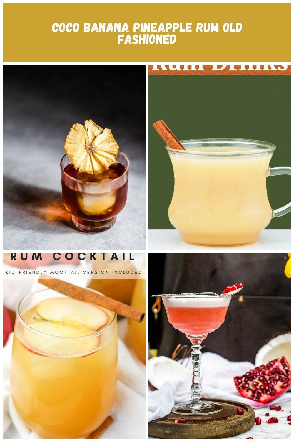 Coco Banana Pineapple Rum Old Fashioned Craft and