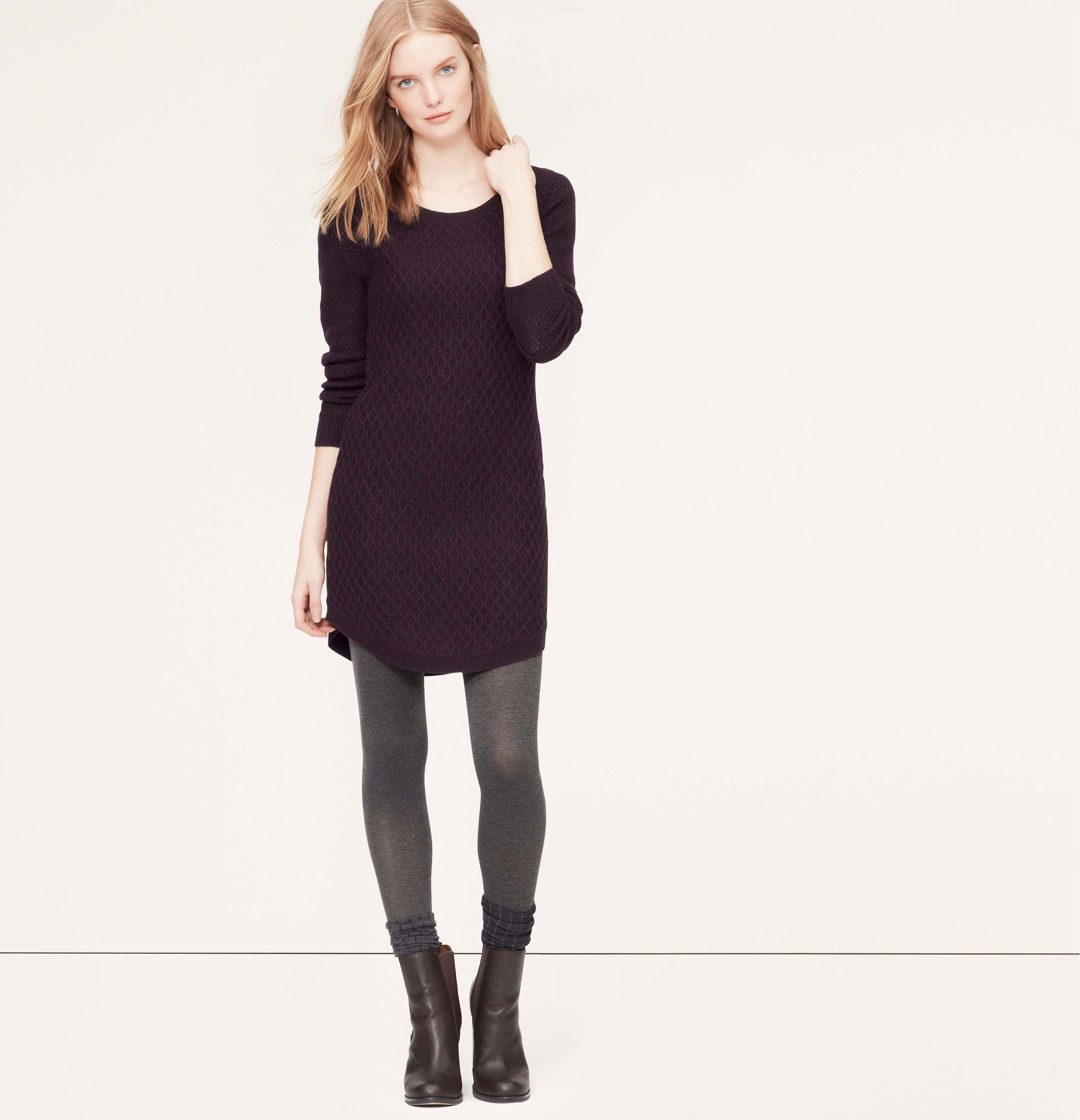 Cable Sweater Dress | Loft (cordovan heather)