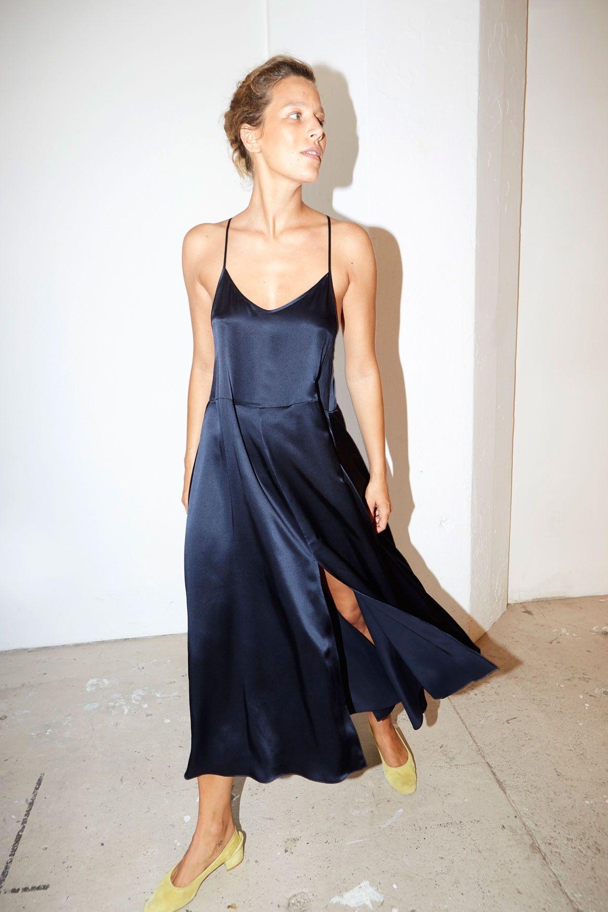 Blue moon slip dress casual silk dresses satin slip