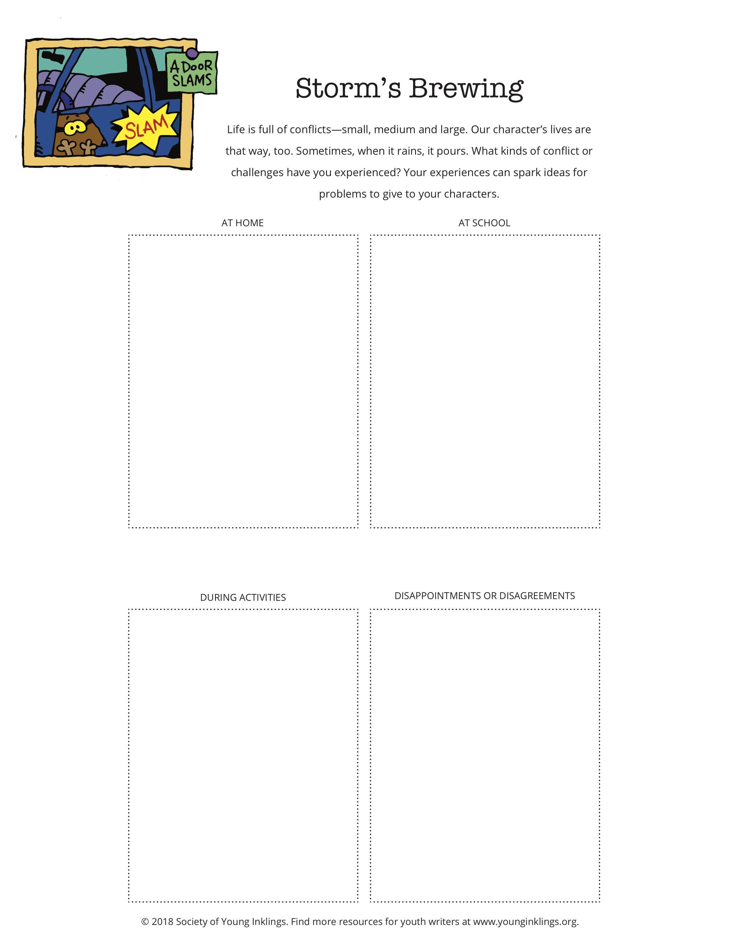 Printable Creative Writing Worksheet Creating Conflict Creative Writing Worksheets Writing Worksheets Mini Lessons
