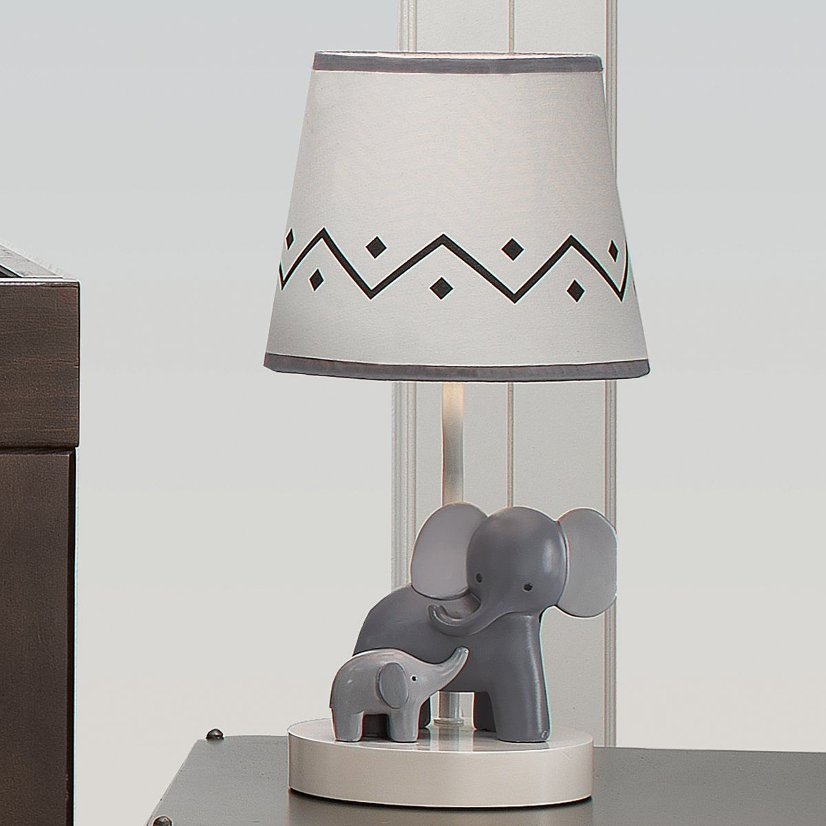 Me Mama White Gray Elephant Nursery Lamp With Shade Bulb With