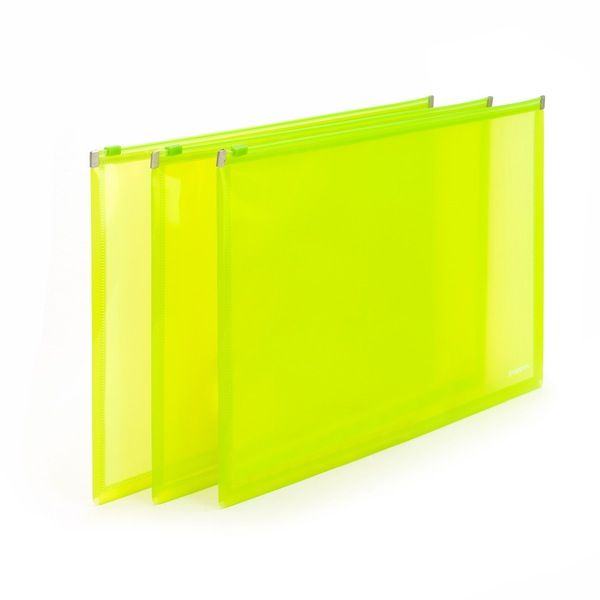 Delightful Poppin Neon Green Zip Folios, Set Of 3 | Desk Accessories | Cool Office  Supplies