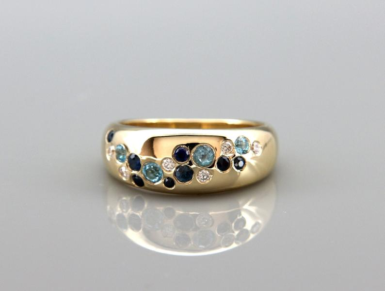 Midnight Sky 14k Gold Cluster Ring set with Diamonds, Blue