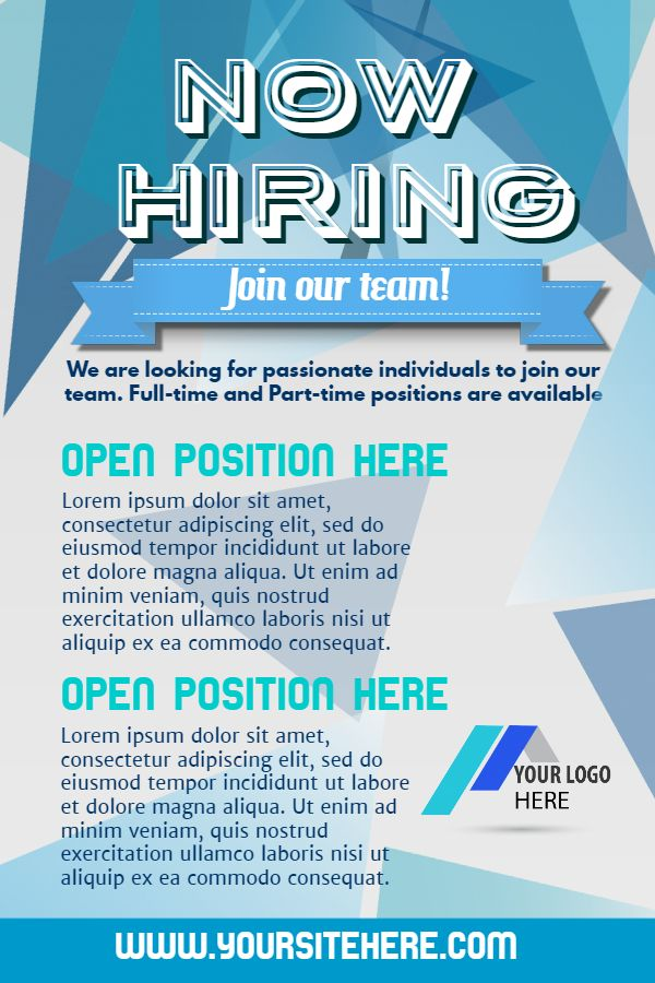 Blue Hiring Flyer Design Click To Customize Hiring Poster Poster Template Job Ads
