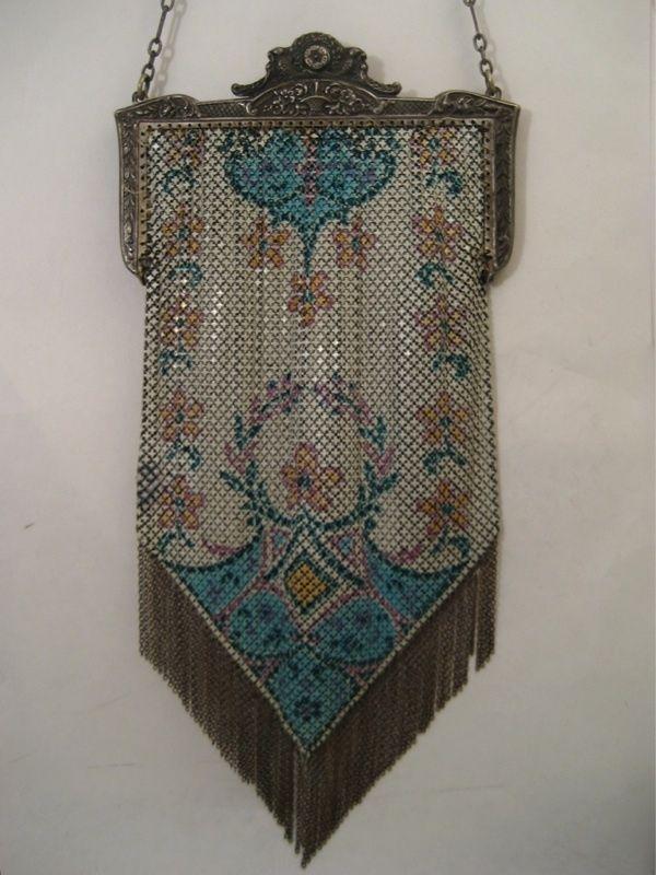 Antique Vintage Mandalian Mesh Purse Handbag Bag Enamel