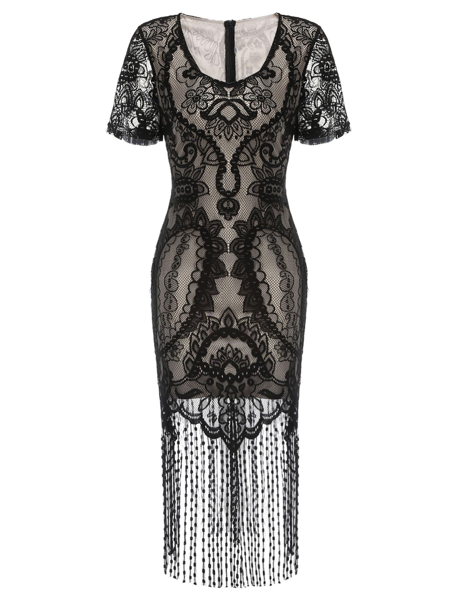 Black short sleeve s v neck vintage styles lace patchwork