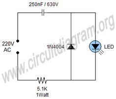 Simple 220V Mains Indicator LED Circuit Diagram in 2019