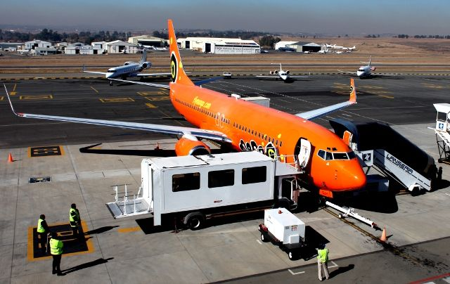 Mango Plane Parked At Lanseria Airport In Johannesburg