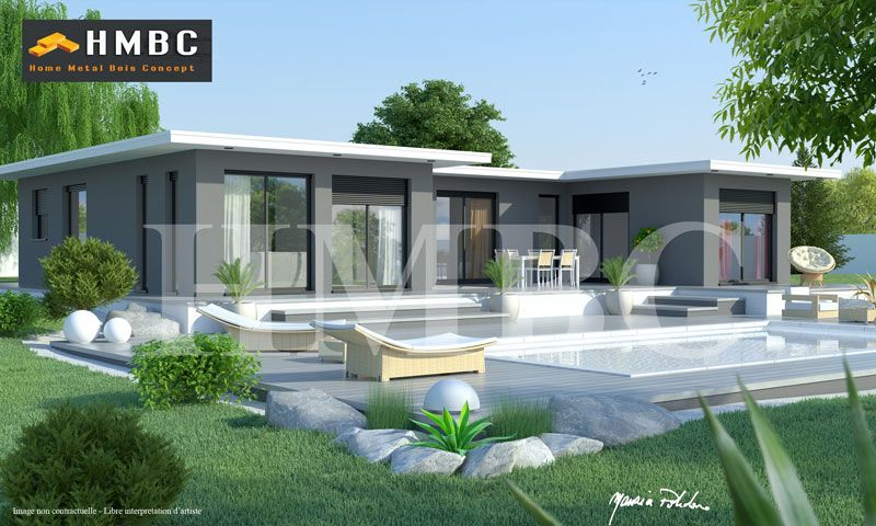 maison moderne elysa 137 m2 hmbc home metal bois concept Constructeur de maisons  # Constructeur Maison Bois Isere