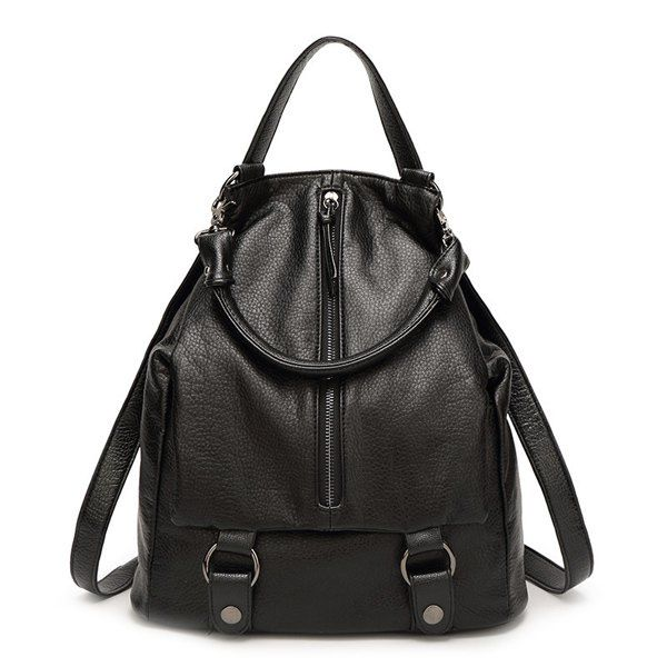 Leisure Black Color and Zip Design Women's Satchel #women, #men, #hats, #watches, #belts, #fashion
