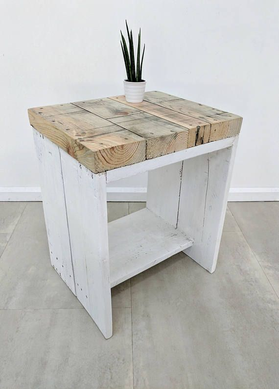 Bedside Table LAUAKE made of Rustic Reclaimed Scaffold Boards ...