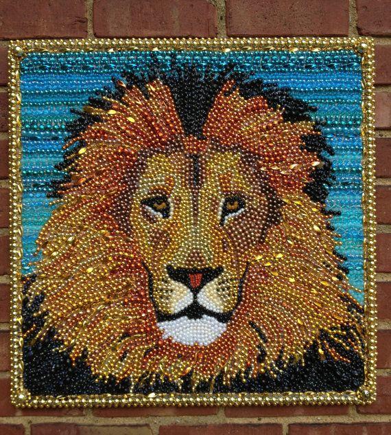 Mardi Gras Bead Lion Portrait Made To Order By Desertjuan
