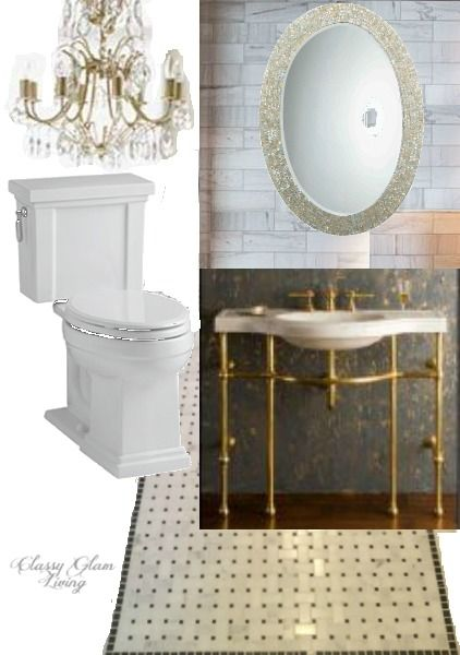 Black White Gold Powder Room Board   Kohler Tresham   marble weave tiles   gold sink legs   mother of pearl mirror   Classy Glam Living