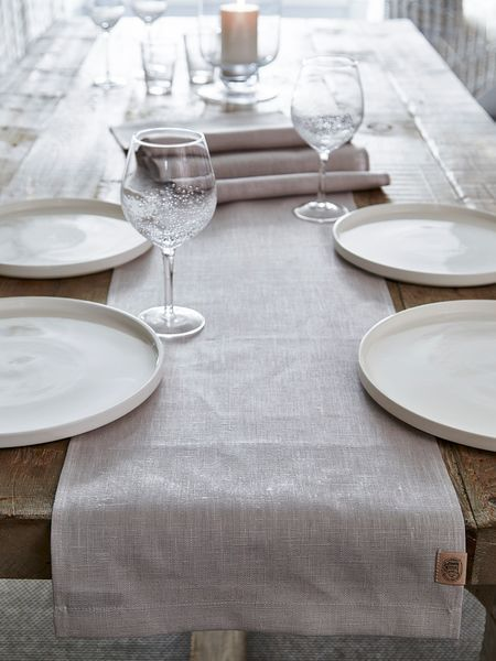 This Long Light Grey Single Linen Table Runner Will Prove Perfect