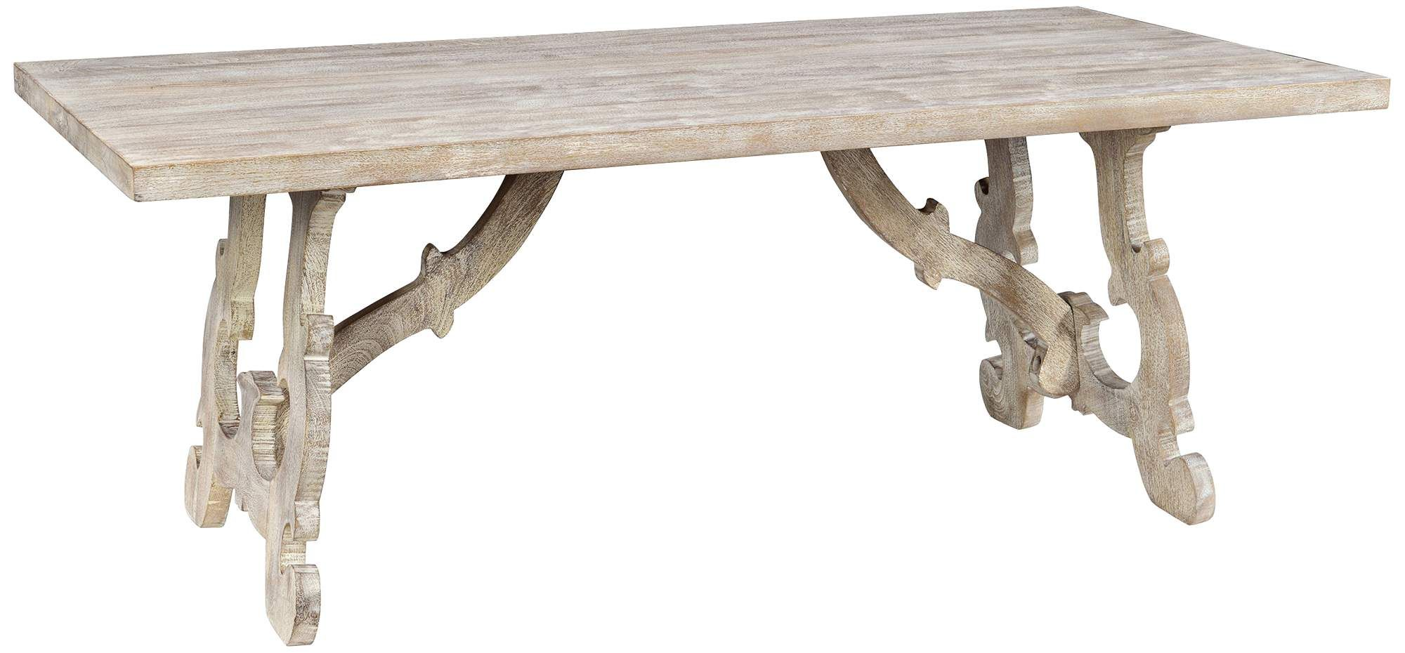 Elena 78 Inch Wide Distressed Wood Rectangular Dining Table Grey