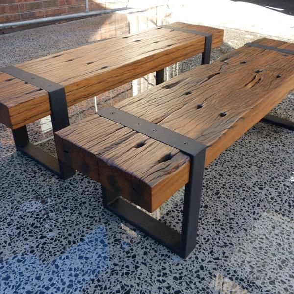 Recycled Railway Sleeper Bench Seats Wood Bench Outdoor Outdoor Bench Seating Wood Side Table Diy