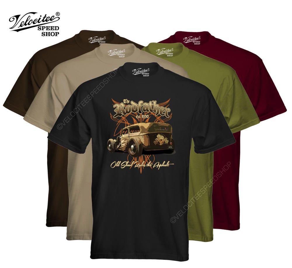 Velocitee Mens T-Shirt The Rodfather Rat Hot Rod Rockabilly Old Skool W17023 #VelociteeSpeedShop