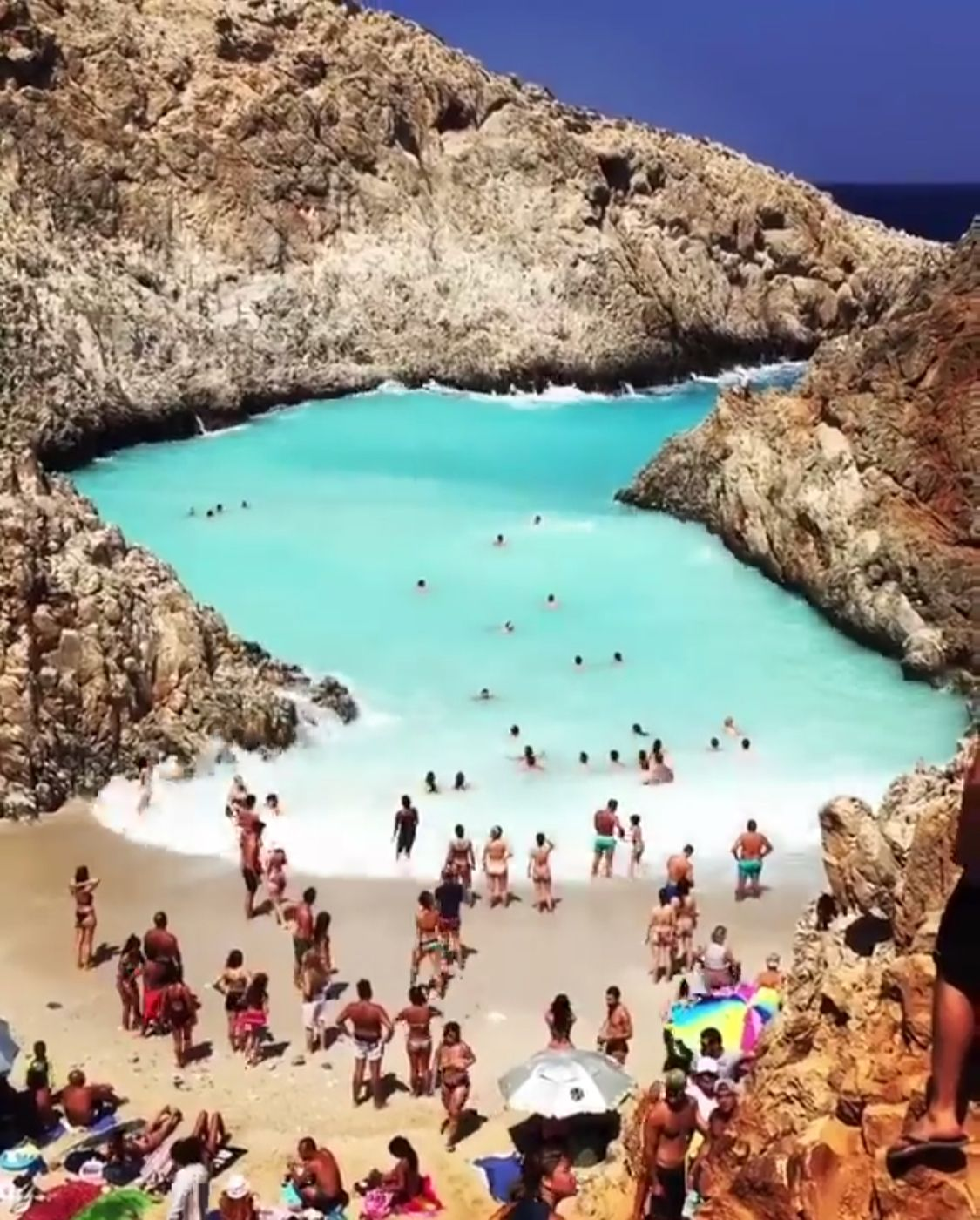 Seitan Limania Crete Greece Natural Wave Pool Beaches In The