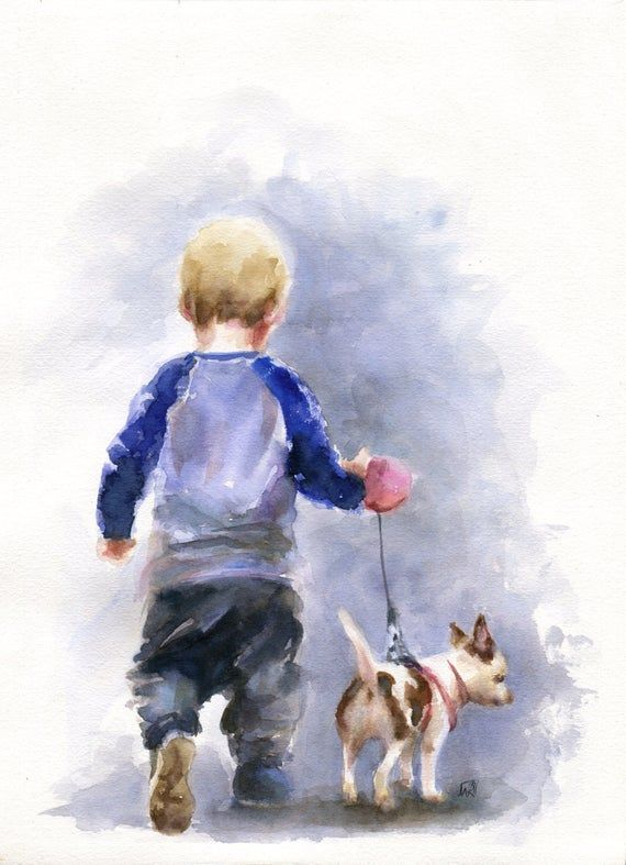 Children And Dog Chihuahua Watercolor Painting Original