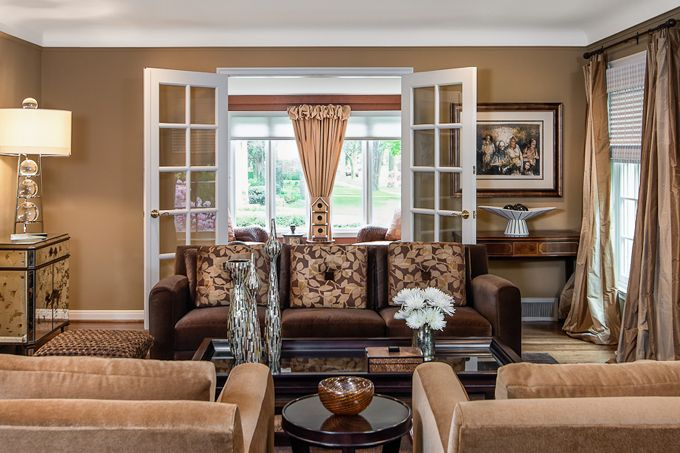 Warm Tones Living Room Ideas: Luxurious Mohair Chairs And A Combination Of Warm, Neutral