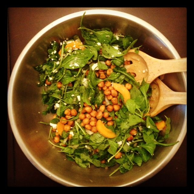 Saturday, 7/7/12 Toasted Chickpea and Apricot Salad. My oh my oh my. Toast some chickpeas with spices until a bit crunchy. Toss with arugula, apricots and feta cheese. Add some citrus dressing.