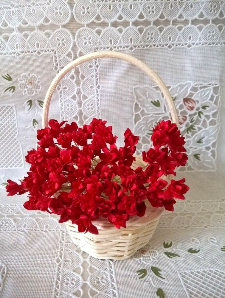 100 Red Gypsophila Flower Mulberry Paper Crafts Embellishments