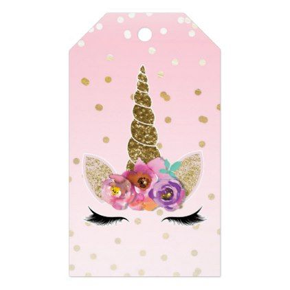 pink gold unicorn floral horn birthday party favor gift tags