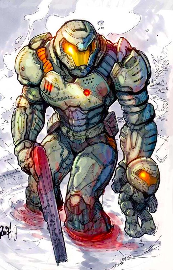 Doom Slayer With His Chibi Doomguy Doom Videogame Doom 4 Doom Game
