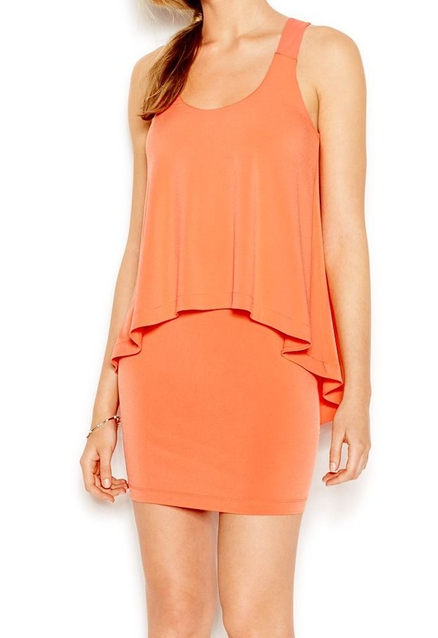 BCBGeneration NEW Orange Salmon Women's Size Medium M Popover Sheath Dress $98