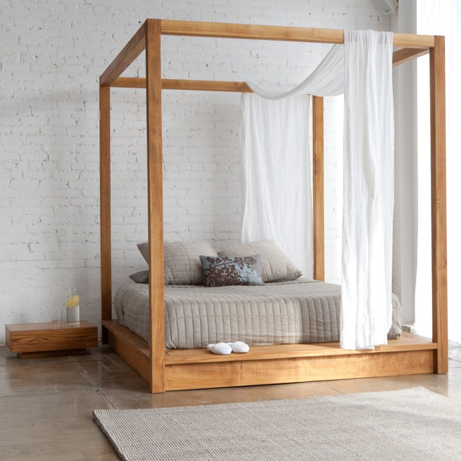 Elegant Canopy Bed Frame Idea Feature Freestanding Square Natural