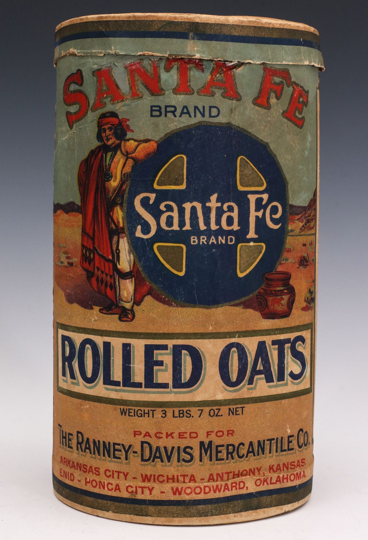 A santa fe brand rolled oats container circa 1920s oats