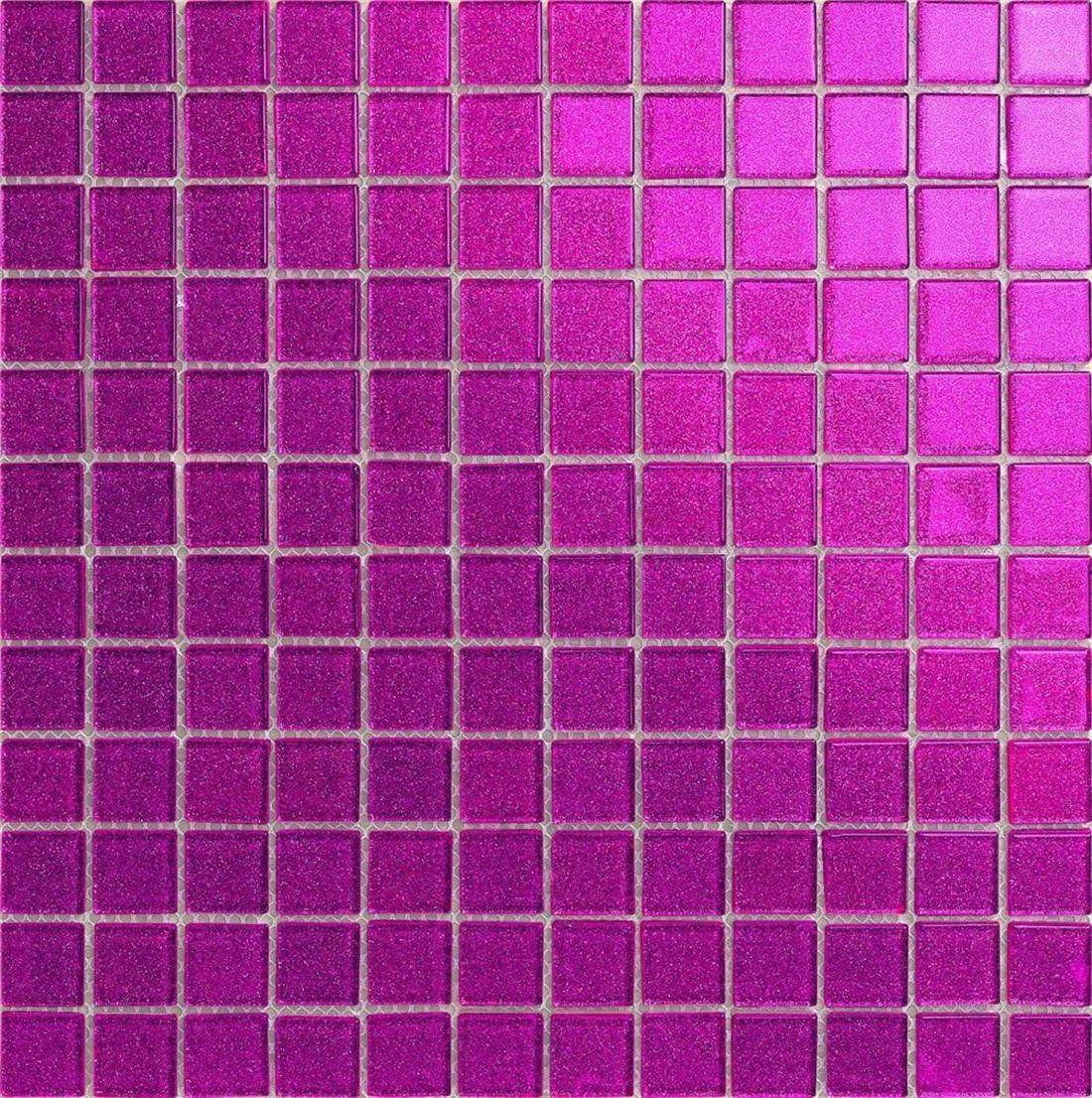 Klarglas Mosaik Fliesen Matte in dunklem Pink mit Glitzer