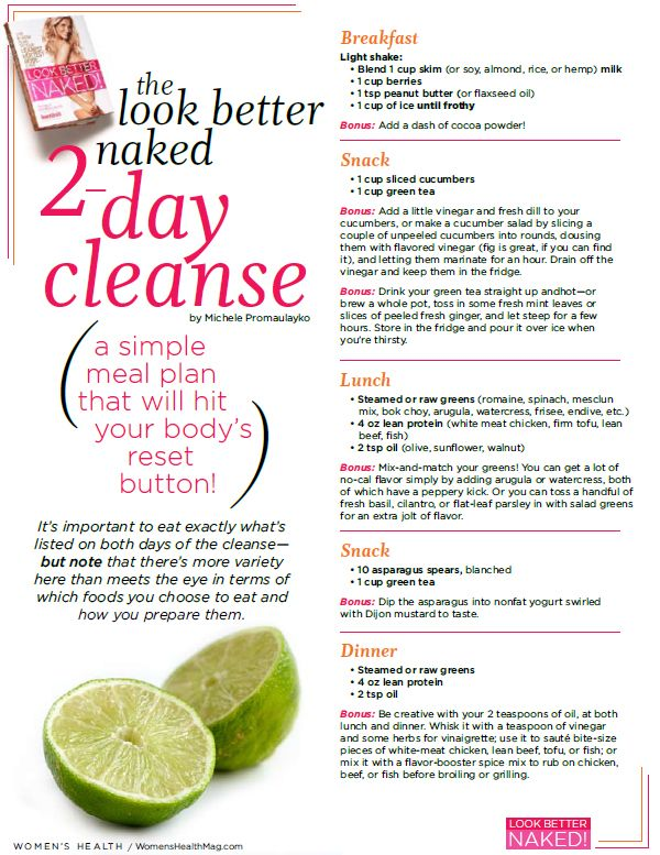 Print It The Look Better Naked 2Day Cleanse Diet is part of Health fitness - This short and sweet cleansing diet will help you get on the road to faster weight loss
