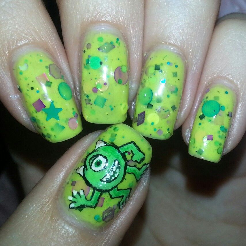 Dorable Mike Wazowski Nails Component - Nail Art Ideas - morihati.com